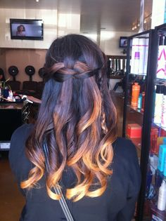 ombre and waterfall braid