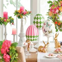 Accent your home with elegant candles and candle holders from Grandin Road. Pair flameless candles with decorative candle holders for the ultimate ambiance. Easter Table Decorations, Party Decoration, Easter Decor, Easter Table Settings, Easter Centerpiece, Spring Decorations, Easter Ideas, Candle Rings, Diy Candles