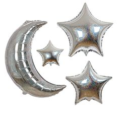 These shimmering balloons come with silver holographic foil finish. The balloons come in 6 styles, 1 moon and 5 stars. > Pack contains 6 balloons. > Balloon sizes: Large moon is a HUGE 35 inches > Lar