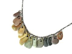 River rock jewelry  rainbow necklace  Rock by AuthenticStone ETSY
