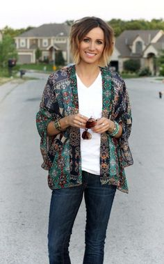 Printed Cardigan Outfit 2017 Street Style