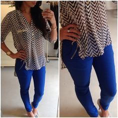 Cobalt Blue pants. Pairs best with a bold print top