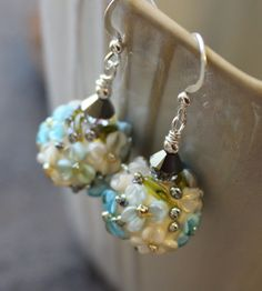 Floral Earrings, Ivory and Blue Art Glass Lampwork, Sterling Silver by JensFancy on Etsy