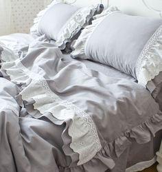 Ruffle princess gray bedding sets,twin full queen king girl cotton elegant fairyfair bedclothes bedskirts pillow comforter cover