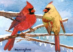 ACEO Limited Edition 2/25- Icicle cardinals, Art print of an original watercolor by Anna Lee, Cardinal bird art, Gift idea for bird lovers