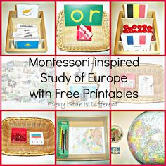 Montessori-inspired Europe themed learning activities and free printables for kids.