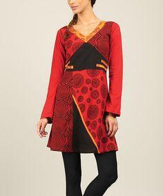Another great find on #zulily! Black & Red Patchwork V-Neck Dress #zulilyfinds
