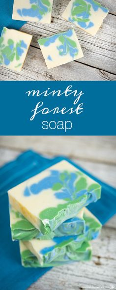 How to Make Minty Forest Soap - peppermint & cedarwood scents.  Watch the video to learn to do the swirl.