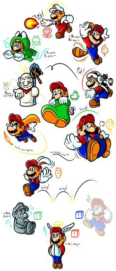 Mario's Gallery of Power-Ups (1985-1996) by =Captain-Regenold on deviantART