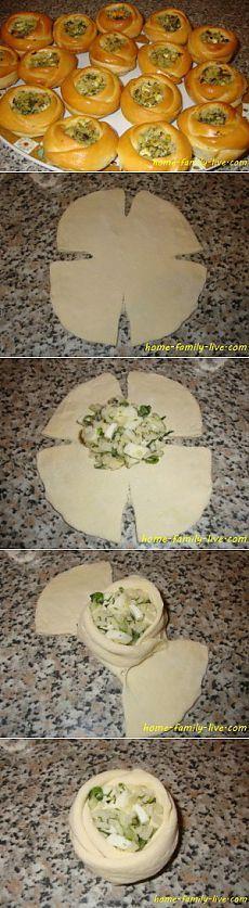 Булочки с начинкой - пошаговый рецепт с фотоКулинарные рецепты