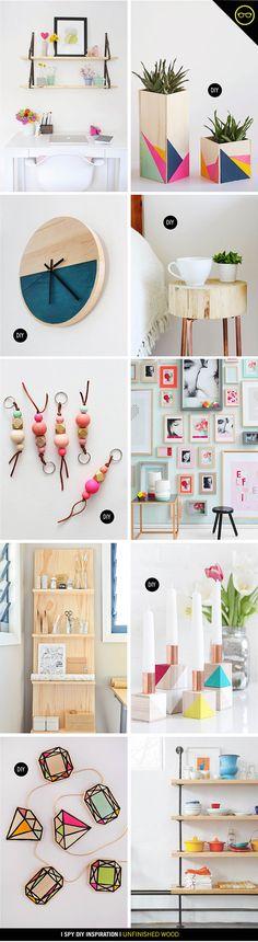 Unfinished wood ideas | Usando madera natural con color, me encantan estas ideas