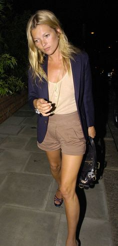 Kate Moss --high waisted shorts with blazer