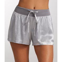 PJ Harlow Mikel Satin Sleep Boxer Shorts ($46) ❤ liked on Polyvore featuring intimates, sleepwear, pajamas, short, women, pj harlow, satin pajamas, short boxer, satin short pajamas and satin boxers