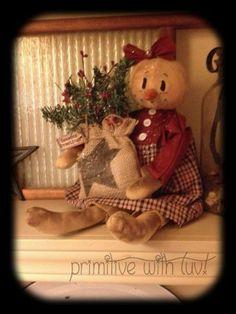 Primitive Snowman, Snowgirl Raggedy Doll, Christmas Burlap bag w/ Star Berries