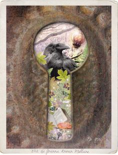 Ravens Treasure Surreal Dreamy Photograph, Raven Art, Crow,  Woodland,  Vintage Keyhole, Tree Branches, Doorway to Fairy, 5x7. $11.00, via Etsy.