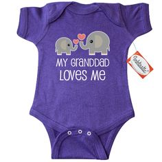 My Granddad Loves Me Infant Creeper has adorable elephant grandpa and grandchild pair for a grandson or granddaughter. $16.99 www.personalizedfamilytshirts.com