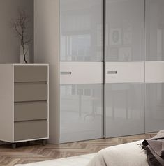 Premium Mini 3 panel fineline sliding wardrobe doors in Light Grey glass and Cashmere with a Titanium frame.