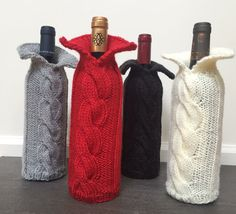 Wine Bottle Cozy / Sweater pick your color by on Etsy Wine Bottle Covers, Wine Bottle Art, Wine Bottle Crafts, Mason Jar Fairy Lights, Diy Gifts For Men, Christmas Ornaments To Make, Textiles, Sewing, Etsy Shop