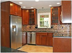 Kitchen Remodel Pantry Counter Tops and Kitchen Remodel Pantry Linen Closets. Small Kitchen Cabinets, Galley Kitchen Remodel, Small Space Kitchen, Kitchen Remodeling, Small Kitchens, Remodeling Ideas, Condo Kitchen, Wooden Cabinets, 1970s Kitchen