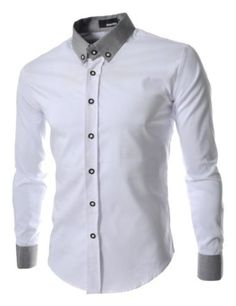 TheLees Mens Casual Slim Fit 2 Tone Dress Shirts
