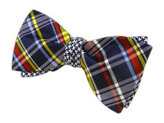 Plaiditude Tooth - Navy (Reversible Bow Ties)