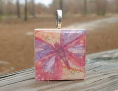 Bright colored butterfly Cute Wood Pendant Tile Necklace $10.00 #thecraftstar