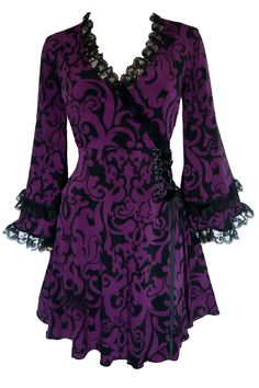 Dare to Wear Gothic inspired plus size Victoria corset top in Blackberry Brocade with black ruffled lace