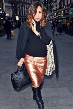 Myleene Klass out & about in London Leather Boots, Leather Skirt, Sexy Skirt, Workwear, Cool Outfits, London, Celebrities, Skirts, Fashion