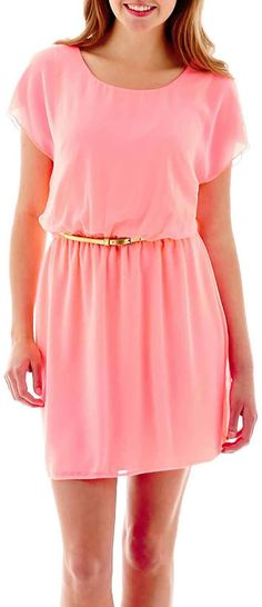 Under $50: 10 Pink Dresses You'll Want to Wear this Summer: Flutter-Sleeve Blousson Dress