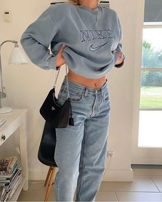 fashion, nike, and style #Nike #Sweater #Hoodie #Nike #Fashion #Shoes #NikeShoes #Sneakers #Activewear #ShopTheLook Adrette Outfits, Indie Outfits, Teen Fashion Outfits, Retro Outfits, Cute Casual Outfits, Look Fashion, Fall Outfits, Vintage Outfits, Cute Fashion Style