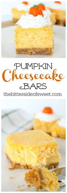 Pumpkin Cheesecake Bars | The Bitter Side of Sweet #PumpkinWeek