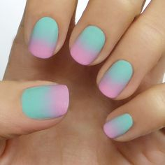 Mint and Pink Ombre Nails