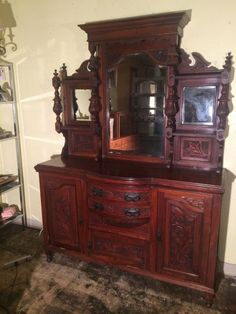 Antique English 1800's Mirrored Solid Walnut Sideboard Buffet Cupboard