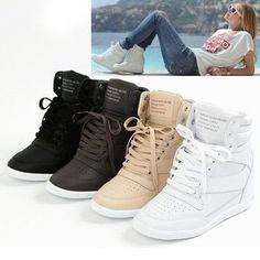 Tendance Basket Femme tenis sneakers tacon wedge plataforma piel 3 envio g. Women's Shoes, Top Shoes, Cute Shoes, Me Too Shoes, High Heel Sneakers, Sneaker Heels, Nike Wedge Sneakers, Tennis Sneakers, Basketball Sneakers