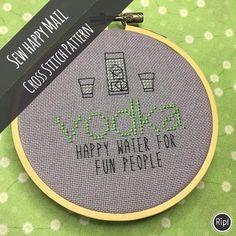 Cross Stitch Pattern PDF Vodka Happy Water for Fun #crossstitchpatterns