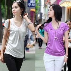 Retail 2014 Summer NEW Womens Casual T-shirt New Micro Fiber Ladys Short Sleeve Top V-neck#008 SV000811 (http://www.dresslink.com/retail-2014-summer-new-womens-casual-tshirt-new-micro-fiber-ladys-short-sleeve-top-vneck008-sv000811-p-12912.html)