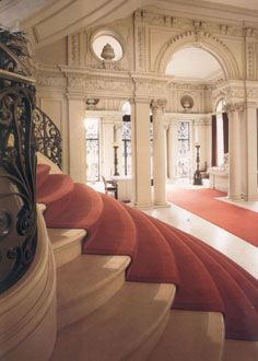 Rosecliff Mansion, Vestibule and Stair Hall leading to the salon and on to the living room.
