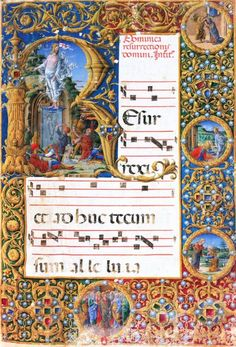 1468. Gradual for Easter Sunday. Atlante dell'arte italiana. Girolamo da Cremona (A.K.A Girolamo de'Corradi)Italian Renaissance painter, illuminator and miniaturist.