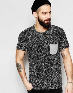 Image 1 ofOnly & Sons T-Shirt with All Over Print & Contrast Pocket