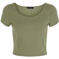 New Look Olive Green Scoop Neck Crop Top ($7.94) ❤ liked on Polyvore featuring tops, shirts, olive, army green top, olive crop top, cut-out crop tops, shirt tops and olive green top