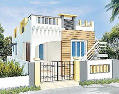 Resultado de imagen para elevations of independent houses . House Front Wall Design, Small House Interior Design, Balcony Design, Modern House Design, Modern Houses, Door Design, 30x40 House Plans, House Relocation, Indian House Plans