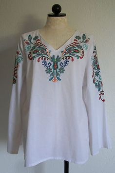 LIFE STYLE Embroidered White Cotton India Boho Hippie Mod Retro Tunic Shirt- XL $30