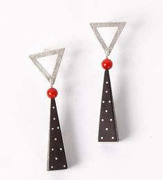 Silver and Ebony Earrings with Coral: Suzanne Linquist: Silver and Ebony Earrings - Artful Home