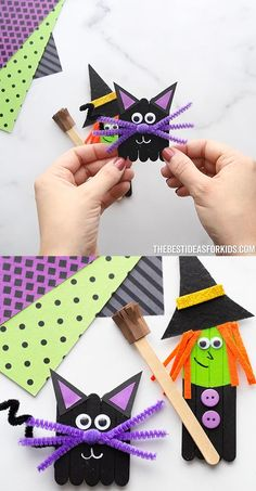 Popsicle Stick Witch & Black Cat