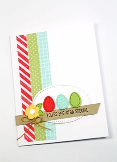 Stampin' Up Basket Bunch Bundle makes an egg-stra special Easter card.  Video tutorial and printable project sheet are on the blog.  Kitchen Table Stamper