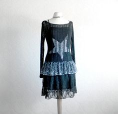 Little Black Dress Upcycled Clothes Mesh by BrokenGhostClothing, $78.00