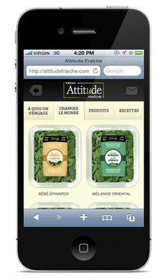 ATTITUDE VEG PRO INTERNATIONAL : création du site web et d'une application iphone pour Attitude Fraîche, une marque de Veg Pro. Application Iphone, Applications, Site Web, Attitude, Communication, Creations, Communication Illustrations