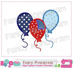 4th of July balloons Applique, 4th of July design,Patriotic applique,balloons design, Machine Embroidery Design