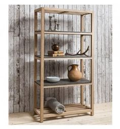 Brooklyn French Oak Tall Bookcase With Concrete Shelves