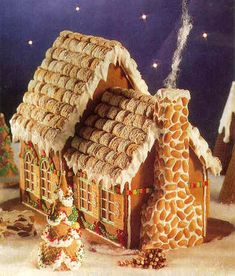 Fairytale Cottage--a gingerbread house frosted mini wheats and peanuts Gingerbread House Designs, Gingerbread House Parties, Gingerbread Village, Christmas Gingerbread House, Noel Christmas, Christmas Goodies, Christmas Baking, Christmas Treats, Christmas Decorations